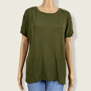 89th & Madison Faux Button Green Sweater Shirt